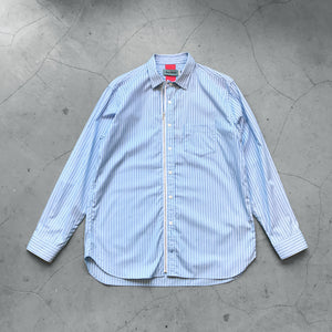 Beautilities Utility Zip Shirt Aqua Blue Stripe