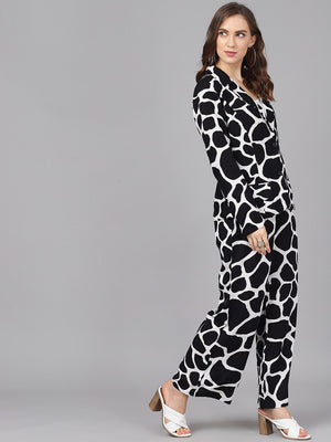 Black & White Printed Jacket Plazzo Set
