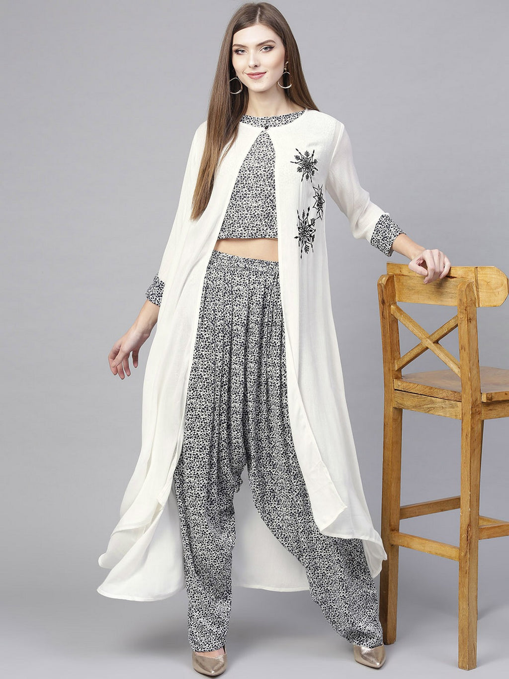 TOP WITH DHOTI SALWAR WITH LONG EMBROIDERED JACKET | Znx4ever.com