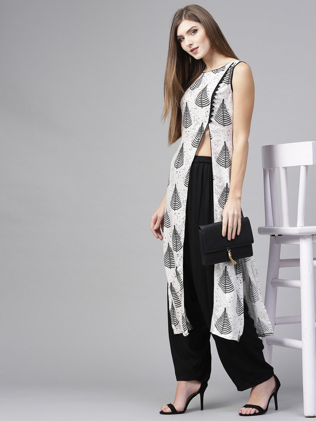 Monocromatic Printed Kurta With Dhoti Salwar (Fully Stitched) | Znx4ever.com