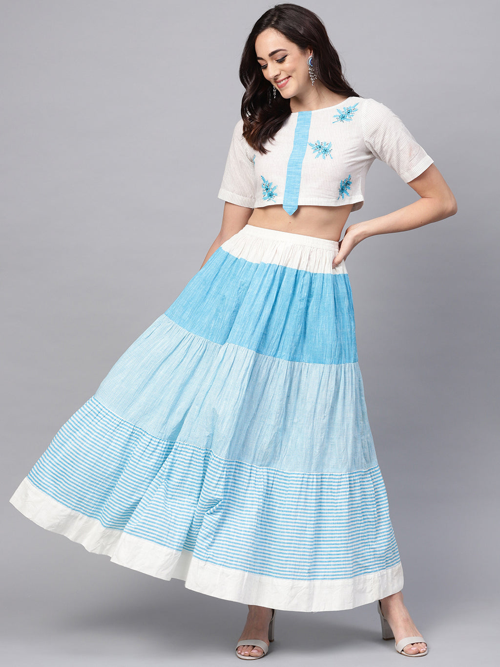 Handloom Embroidered Top With Skirt (Fully Stitched) | Znx4ever.com