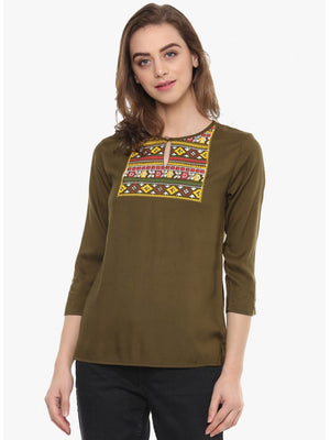 Mayra Metalic bronze Printed Top | Znx4ever.com