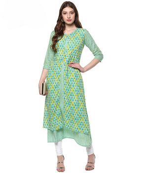 Multicolour Embellished Cotton A-Line Kurti | Znx4ever.com
