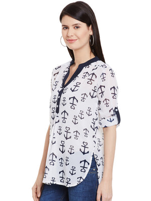 Off-White & Navy Anchor Print Slim Fit Tunic | Znx4ever.com
