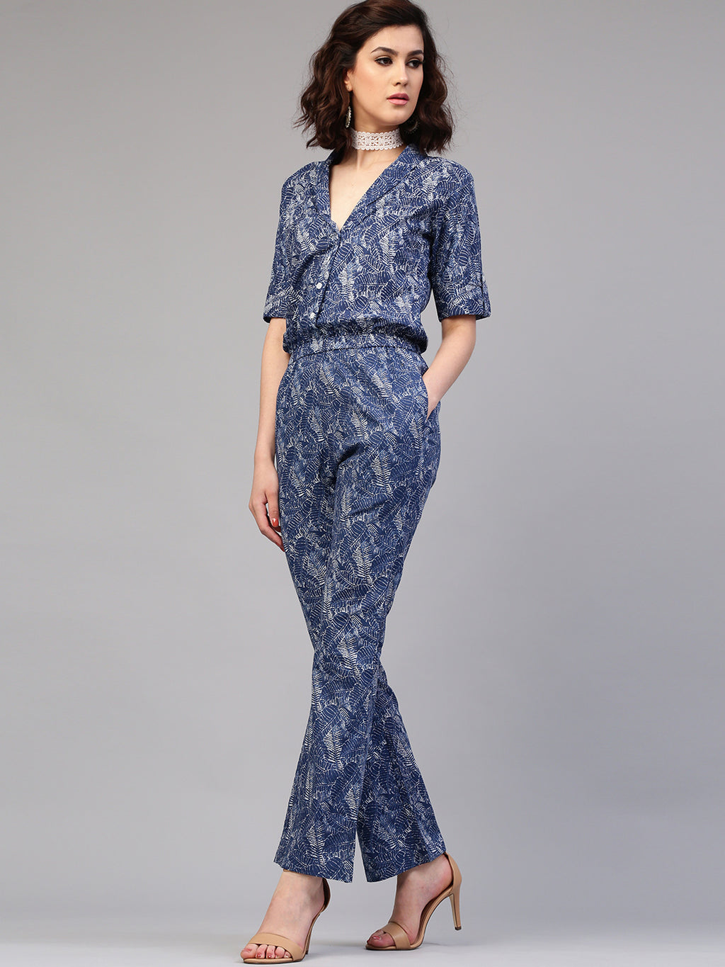 Blue Printed Roll-Up Sleeve Jumpsuit | Znx4ever.com
