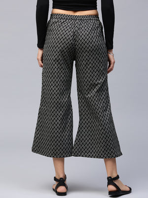 Black & Grey Ethnic Print Flared Cropped Palazzos | Znx4ever.com