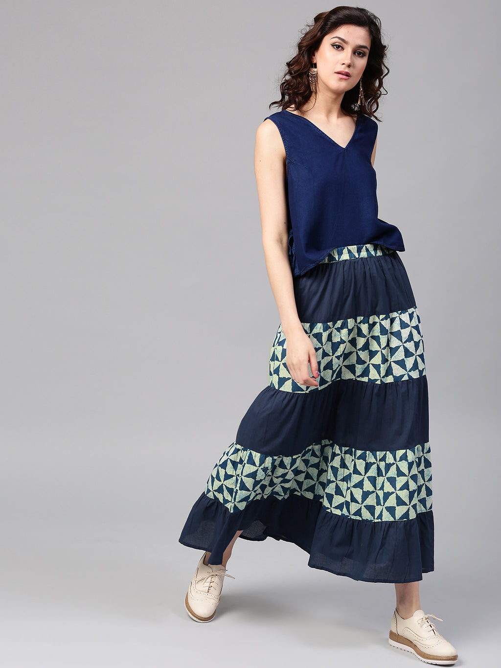 Navy Blue Printed Tiered Skirt | Znx4ever.com