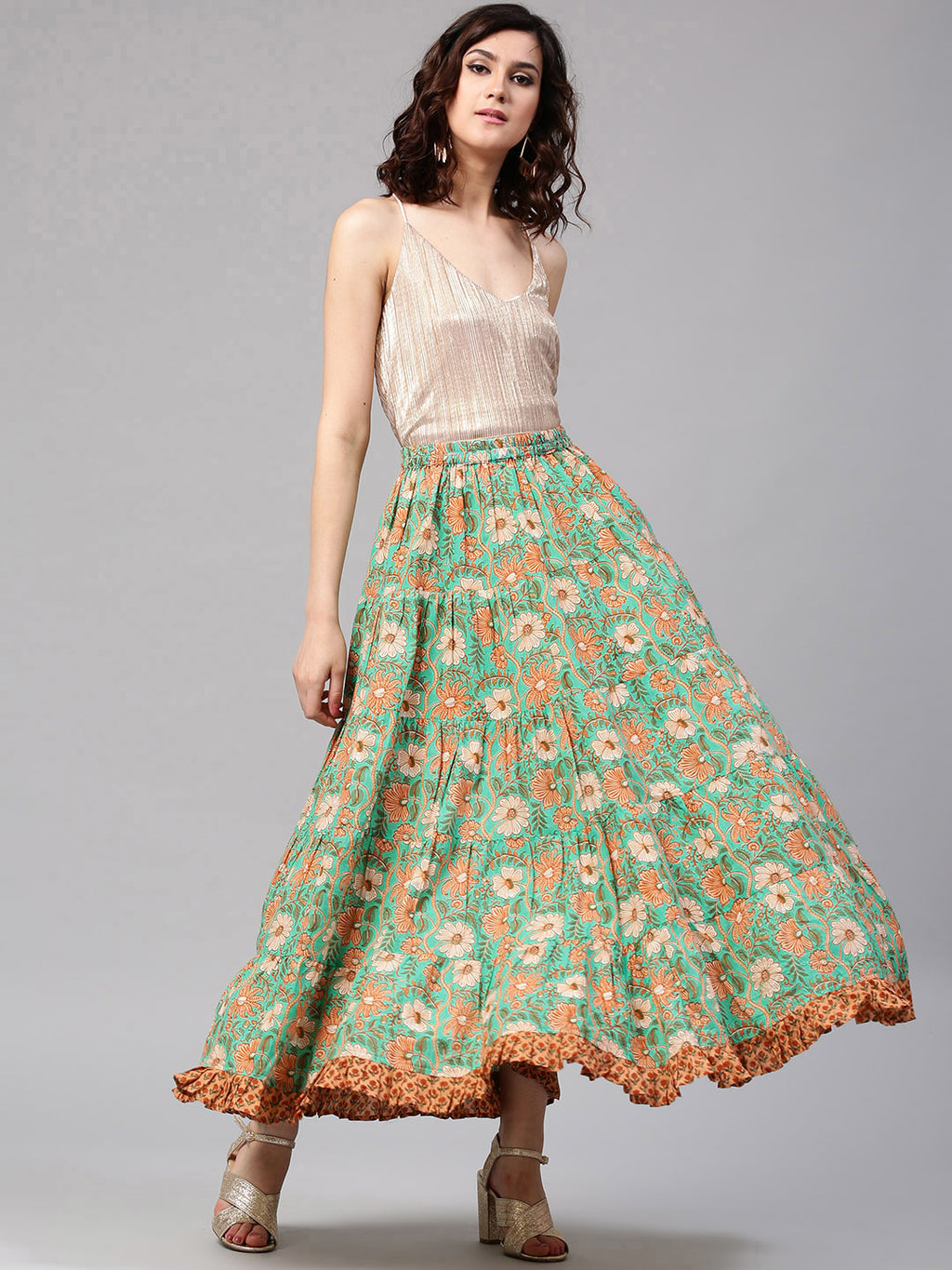 Green Floral Pastel Printed Flared Skirt With Frill Hemline | Znx4ever.com