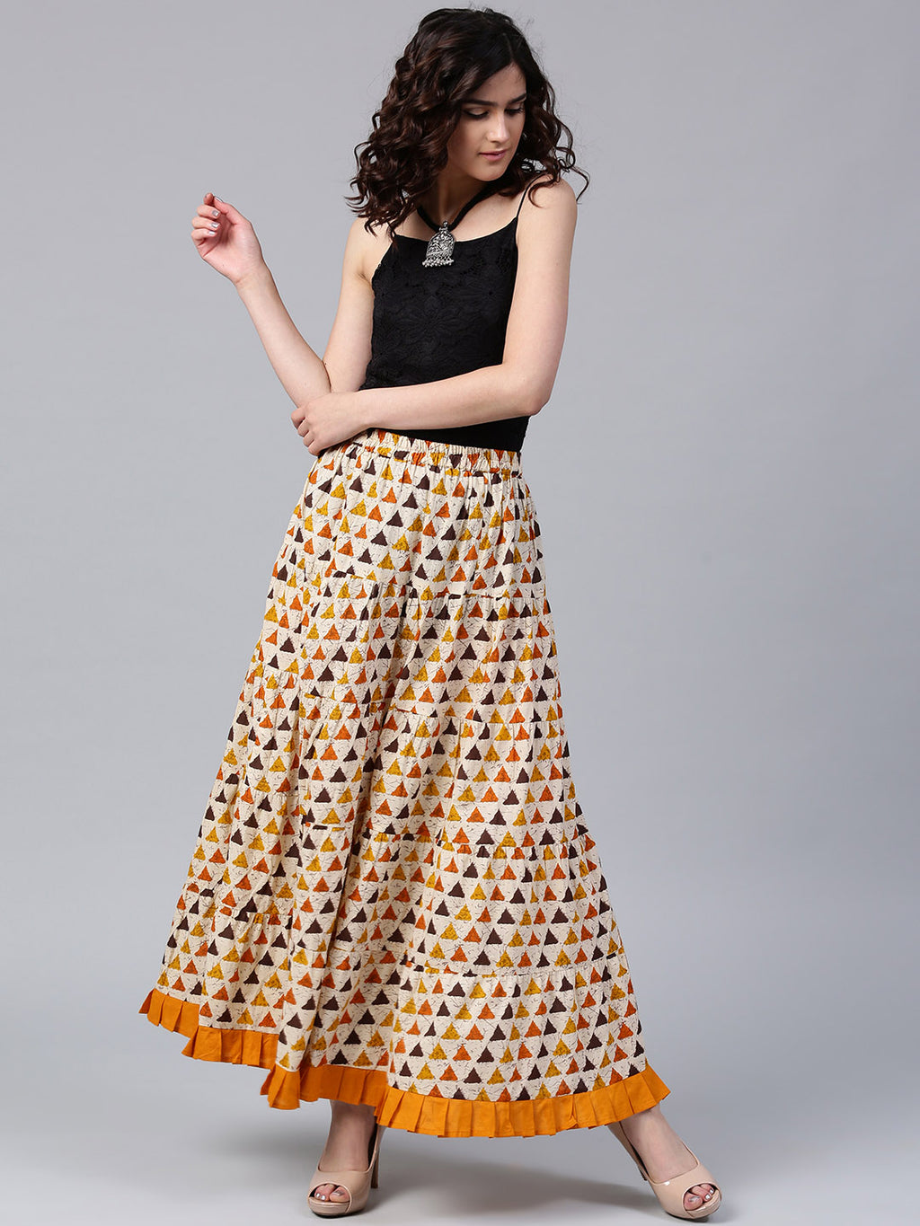 Cream & Yellow Geometrical Printed Tiered Skirt | Znx4ever.com