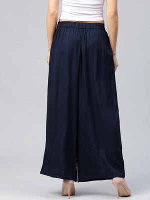 Navy Blue Solid Flared Palazzos | Znx4ever.com