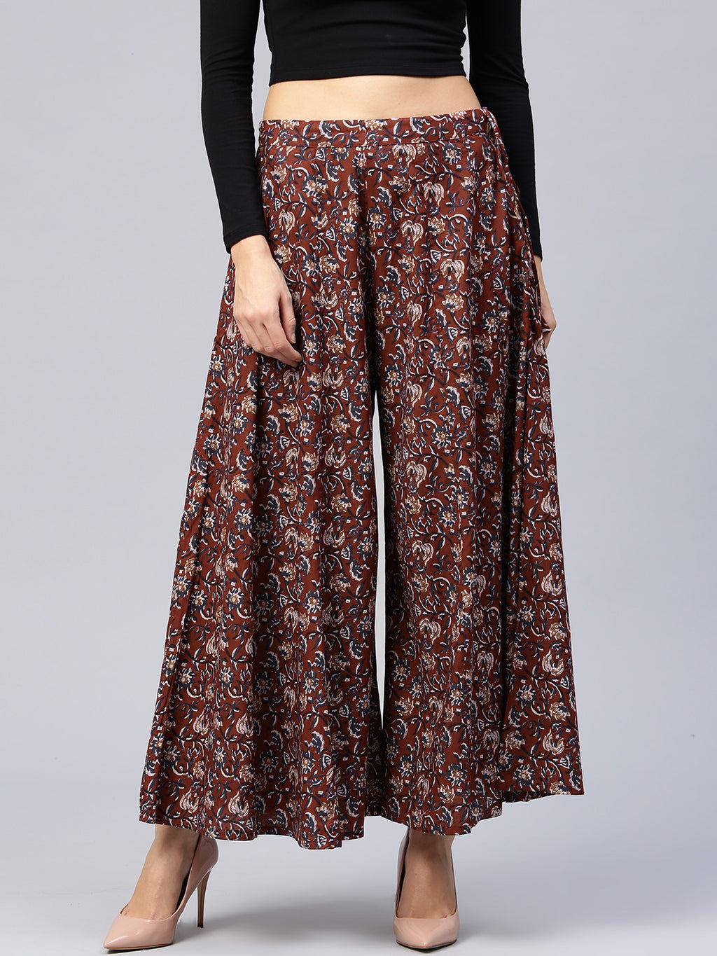 Maroon Navy Printed Flared Palazzos | Znx4ever.com