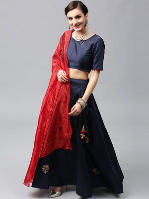 Sapphire Blue Hand Block Printed Lehenga Choli With Dupatta (Fully Stitched) | Znx4ever.com
