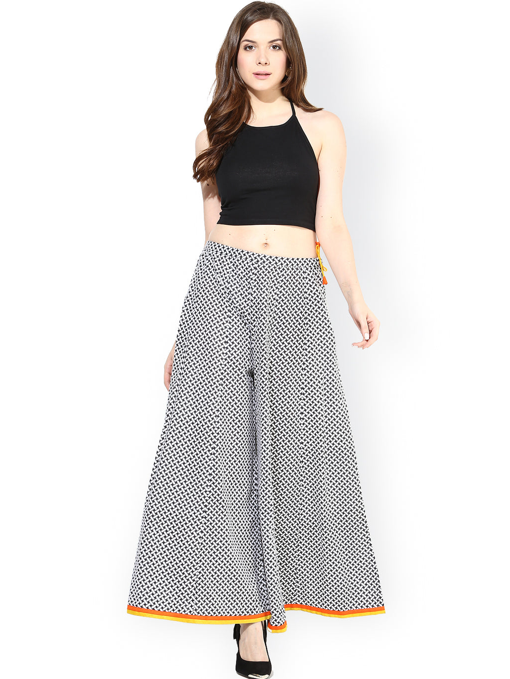 Black & White Printed Palazzos | Znx4ever.com