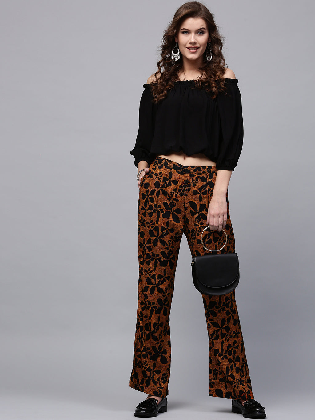 Orange & Black Printed Straight Fit Palazzos | Znx4ever.com
