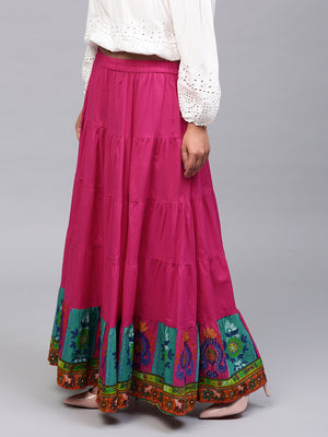 Magenta Solid Tiered Skirt With Printed Hemline | Znx4ever.com