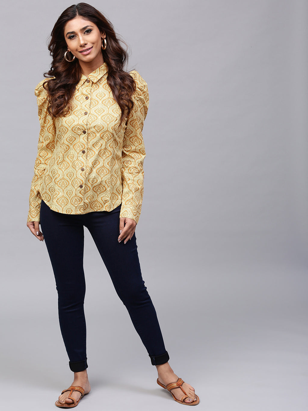 Beige Printed Royal Shirt | Znx4ever.com