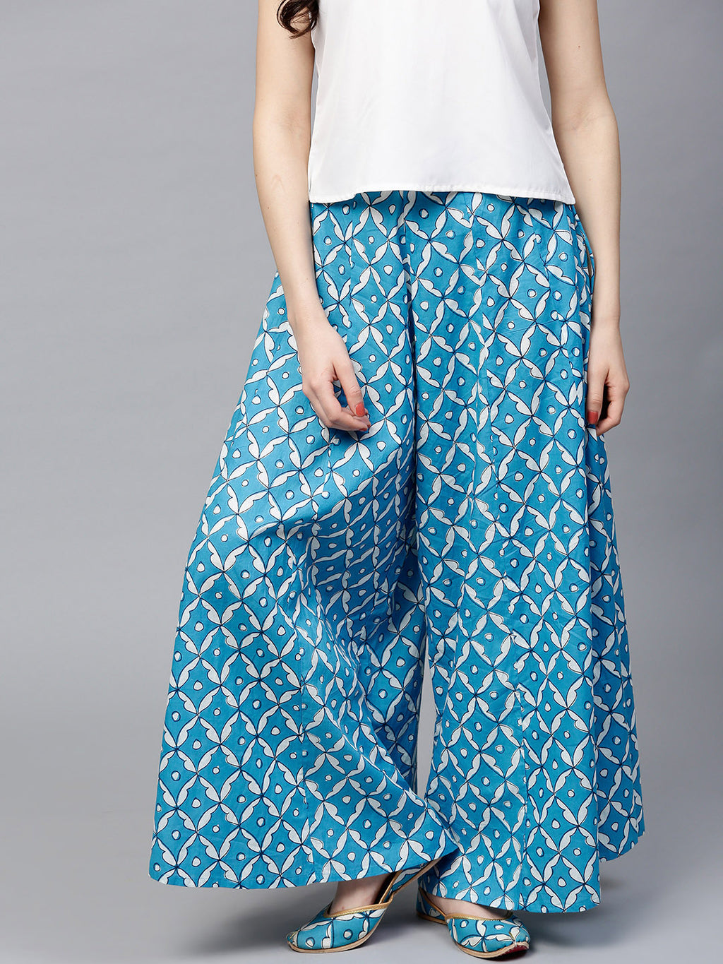 Blue White Printed Flared Palazzos | Znx4ever.com