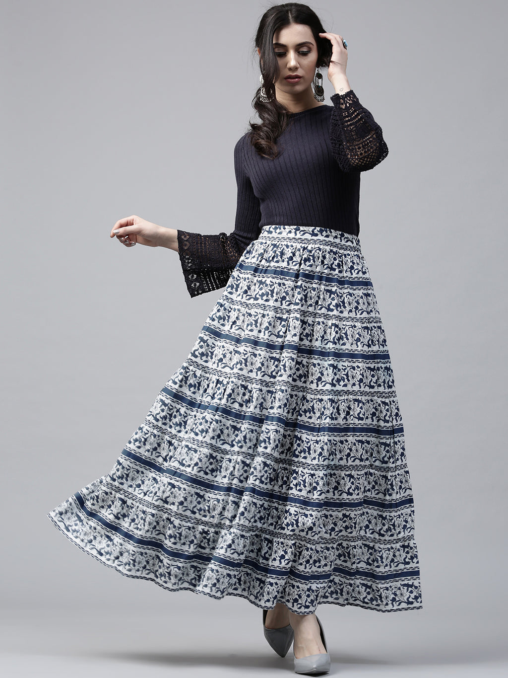 Navy Blue & White Printed Tiered Skirt | Znx4ever.com