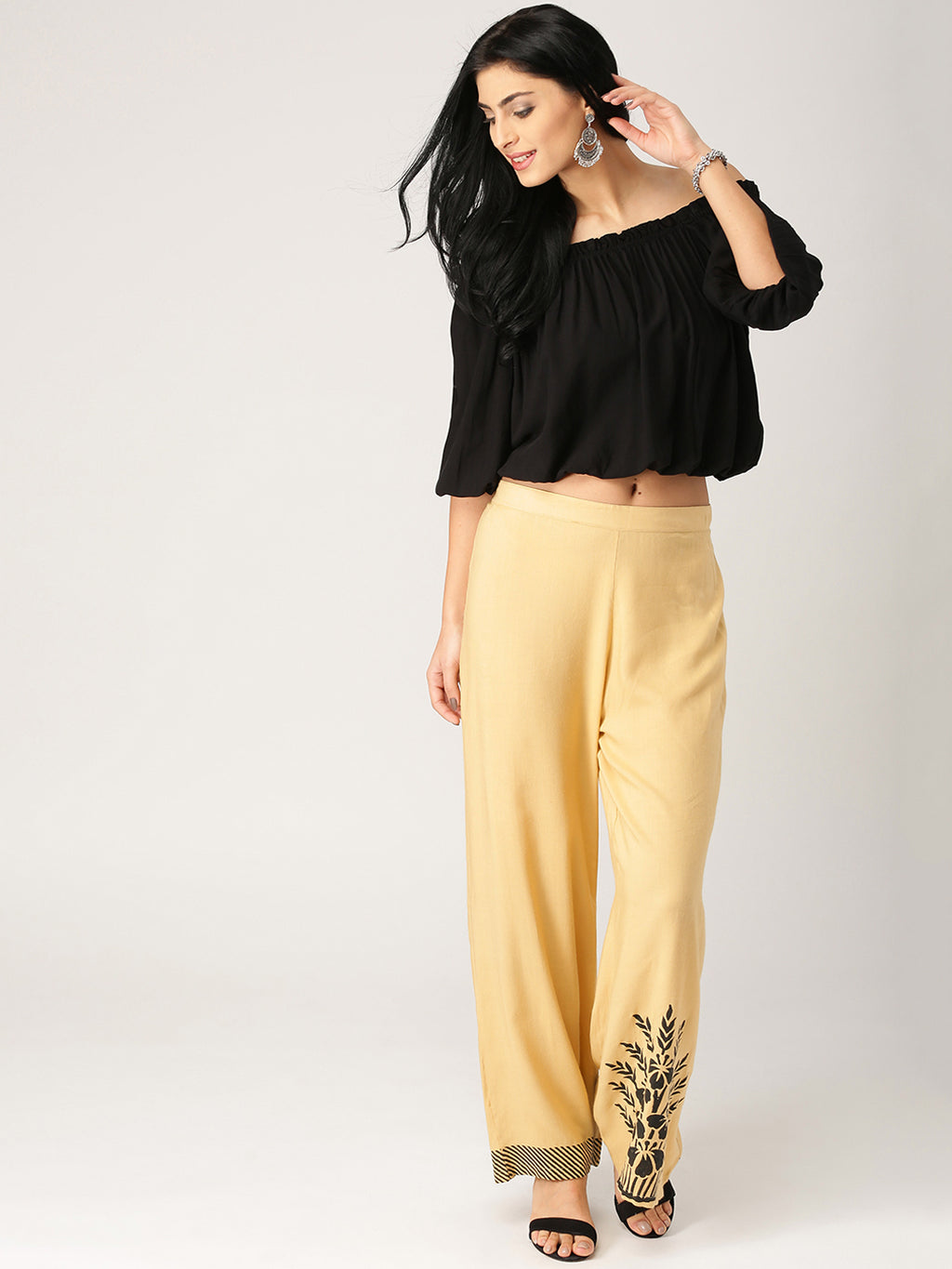 Beige & Black Printed Wide Leg Palazzos | Znx4ever.com