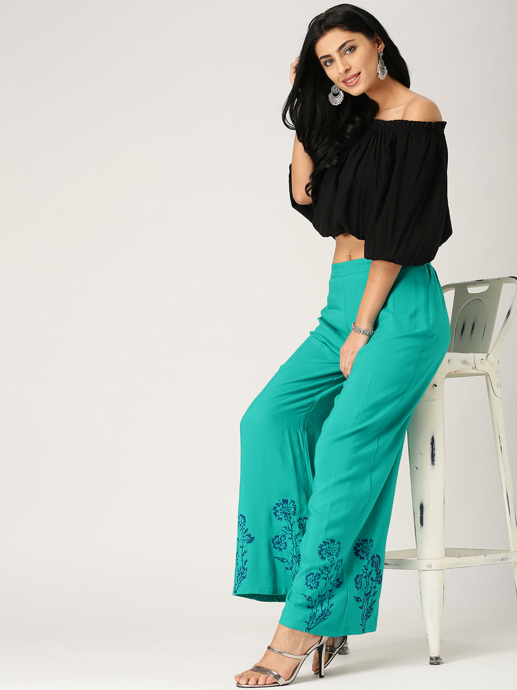 Teal Wide Leg Printed Palazzos | Znx4ever.com