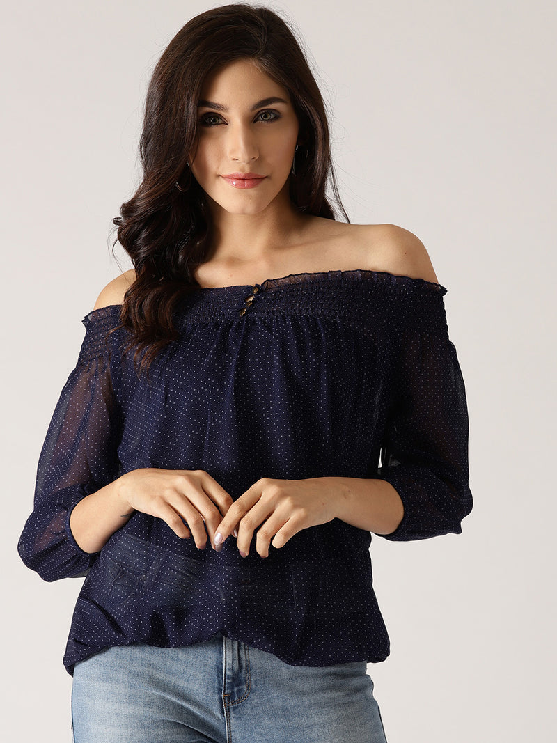 Navy Printed Sheer Bardot Top | Znx4ever.com