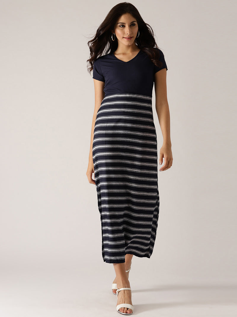 Navy Blue & White Striped Maxi Dress (Fully Stitched) | Znx4ever.com