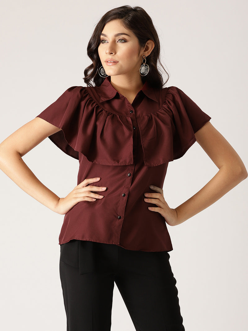 Burgundy Regular Fit Solid Casual Shirt | Znx4ever.com