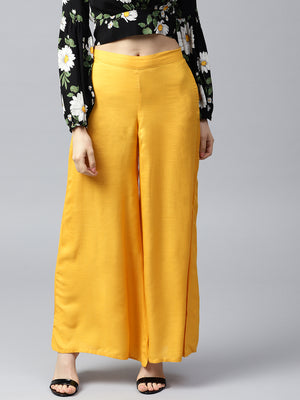 Mustard Yellow Wide Leg Solid Palazzos | Znx4ever.com