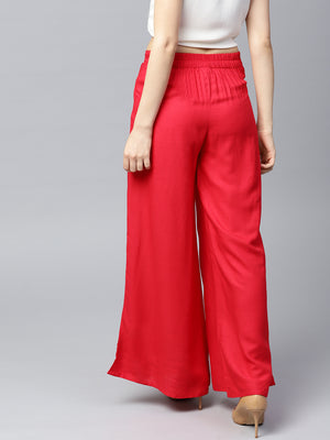 Red Solid Flared Palazzos | Znx4ever.com