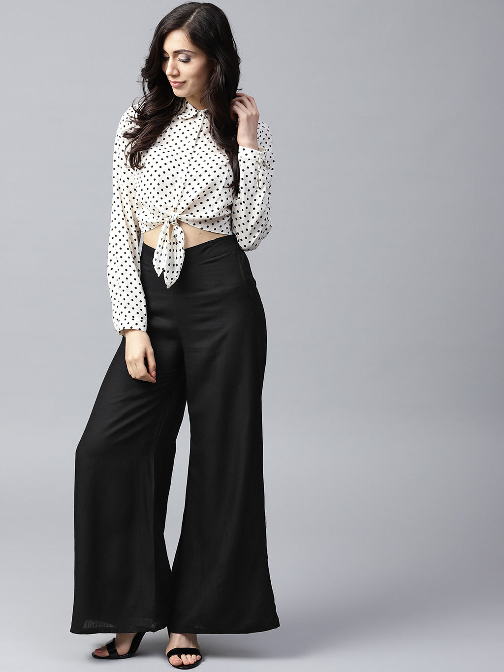 Black Solid Flared Palazzos | Znx4ever.com