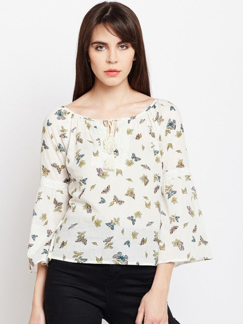 Women OFF White printed Top | Znx4ever.com