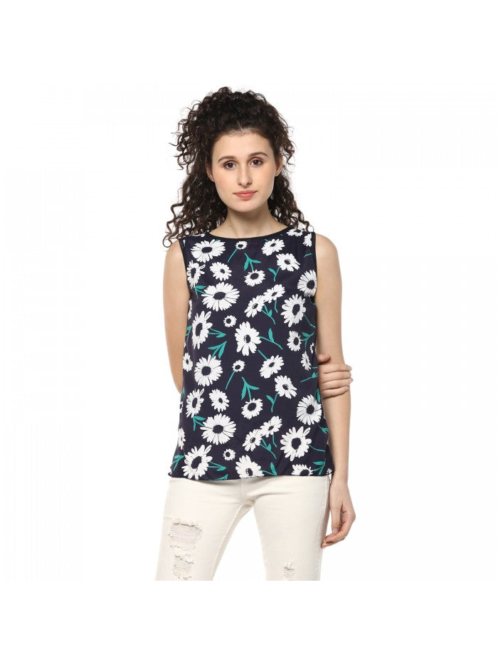 Mayra Navy Blue Colour white Printed Top | Znx4ever.com
