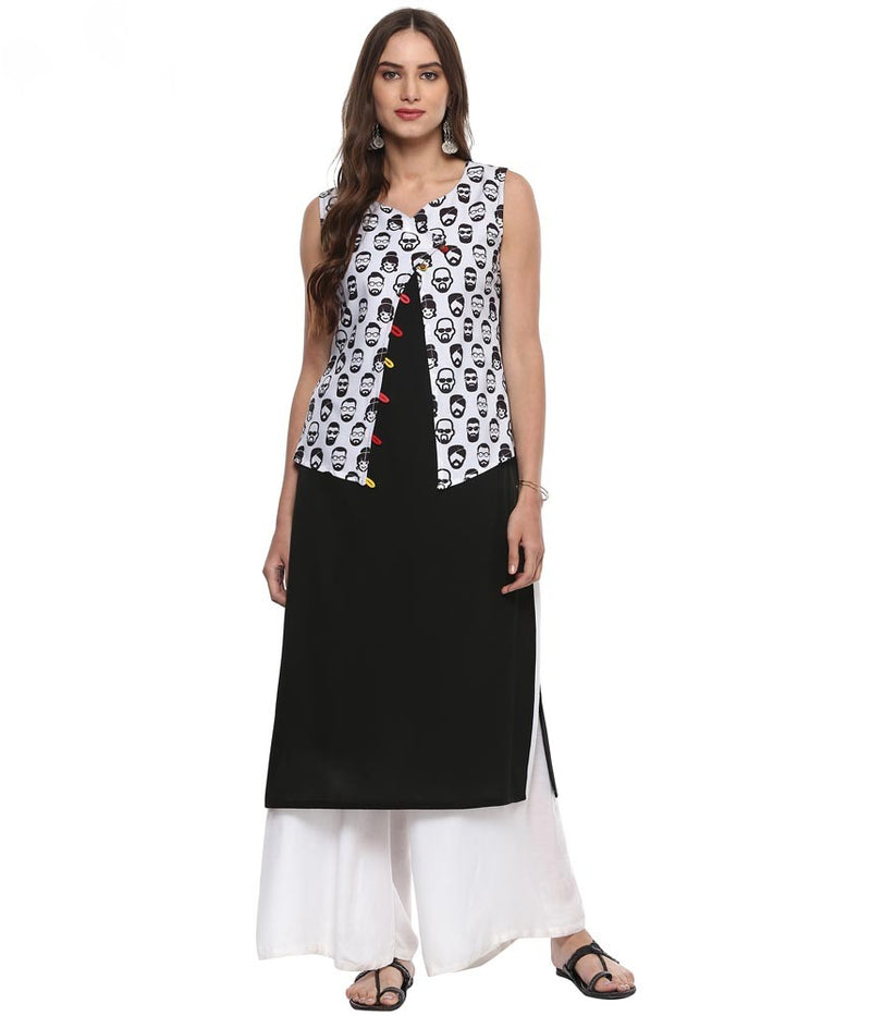Black Printed Crepe Straight Kurti | Znx4ever.com