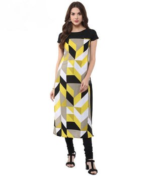 Women yellow Printed Straight Kurta | Znx4ever.com