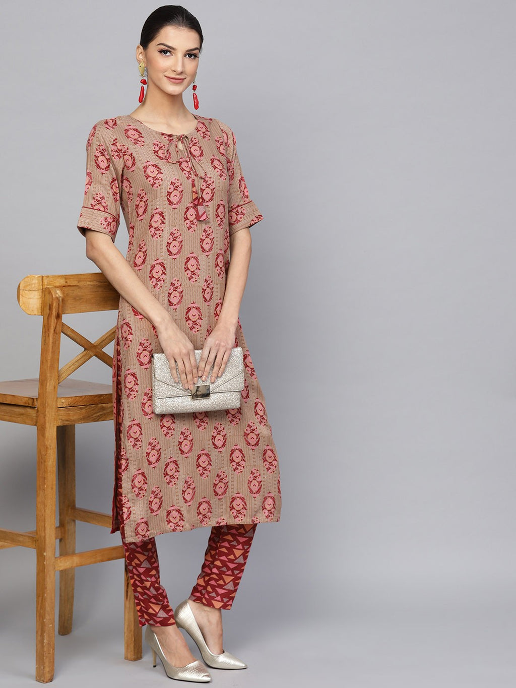 Beige & Maroon Printed Straight Kurta With Pant Set (Fully Stitched) | Znx4ever.com
