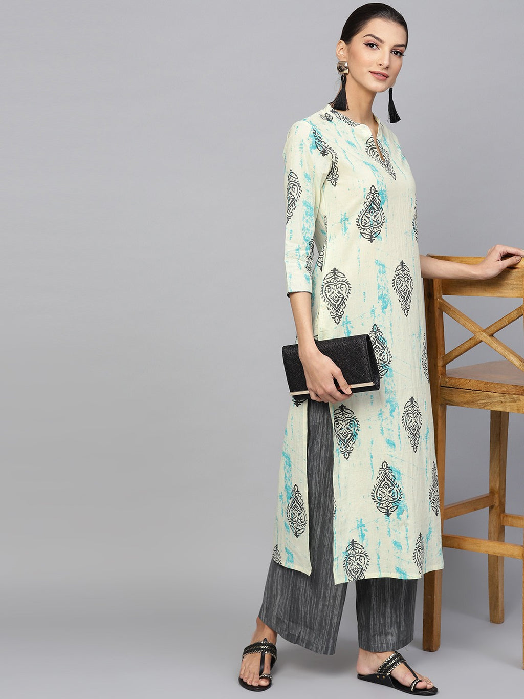 Cream Printed Kurta With Grey Palazzo Set (Fully Stitched) | Znx4ever.com