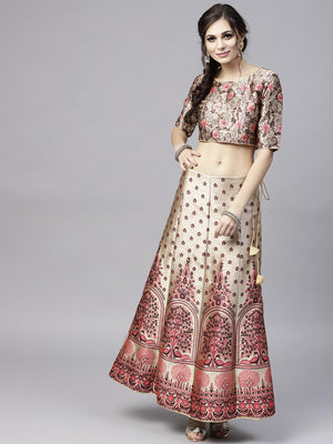 Multicolor Woven Design Lehenga With Choli (Fully Stitched) | Znx4ever.com