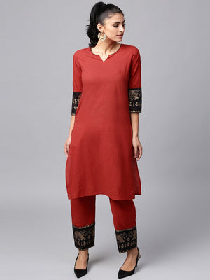 Red & Black Gold Printed Kurta With Pant Set (Fully Stitched) | Znx4ever.com
