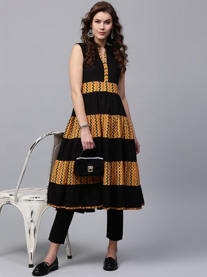 Black & Mustard Printed Tiered Sleeveless Anarkali (Fully Stitched) | Znx4ever.com