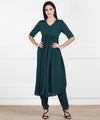 EYKA TEAL BLUE ANARKALI KURTA SET WITH PANTS