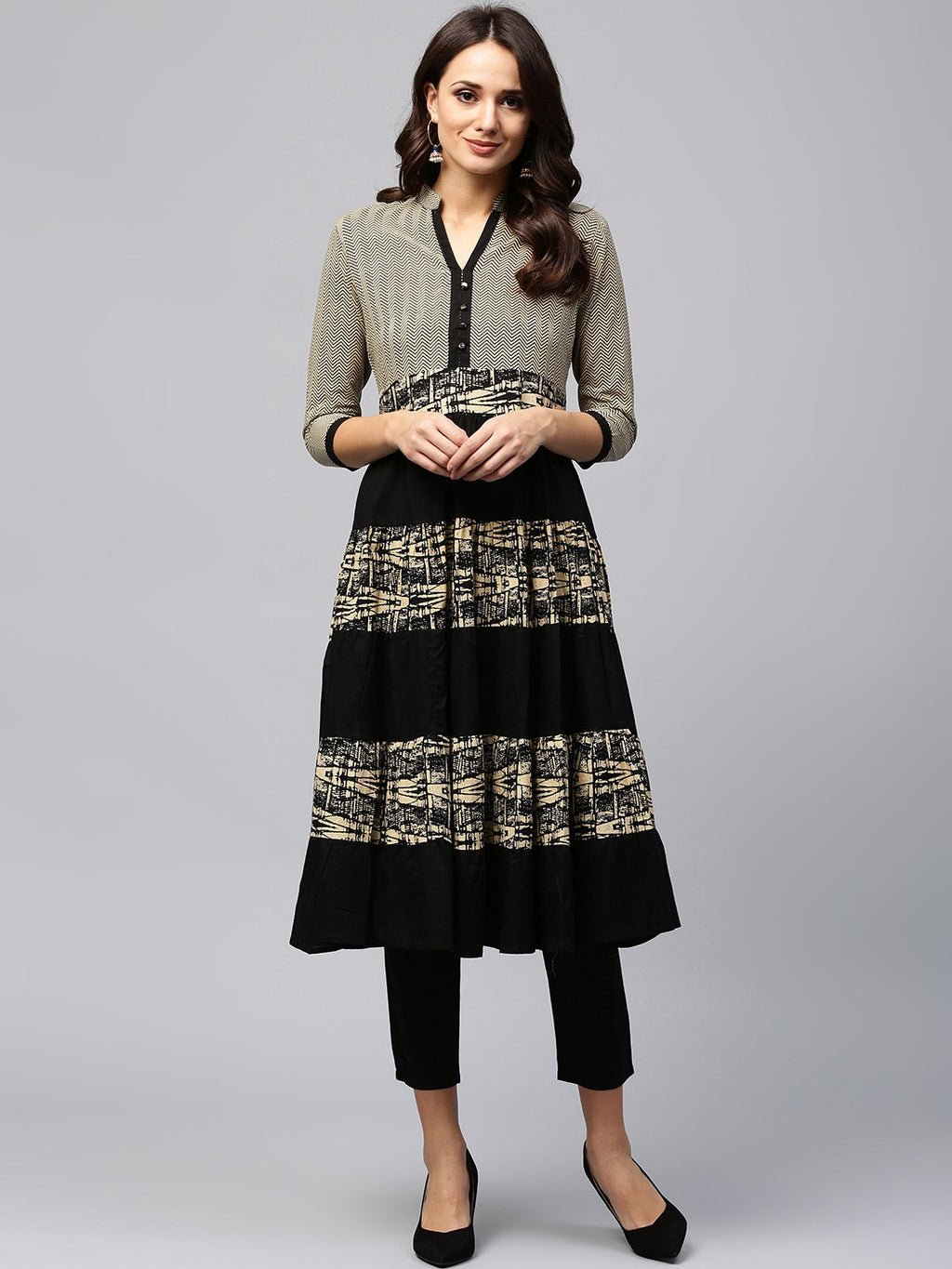 Beige & Black Printed Tiered Anarkali (Fully Stitched) | Znx4ever.com