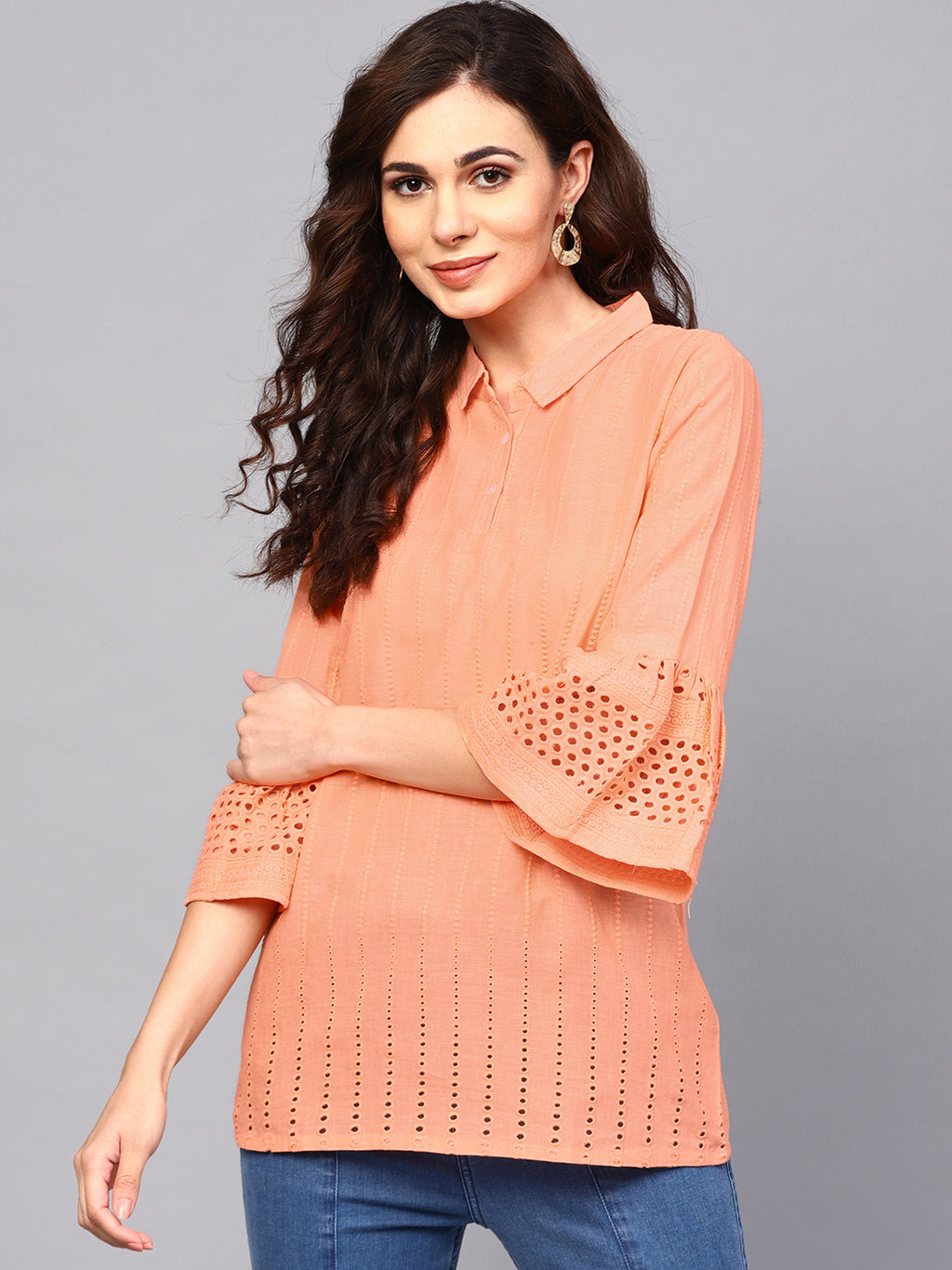 Peach Chikankari Work Tunic With Ruffle Sleeve (Fully Stitched) | Znx4ever.com