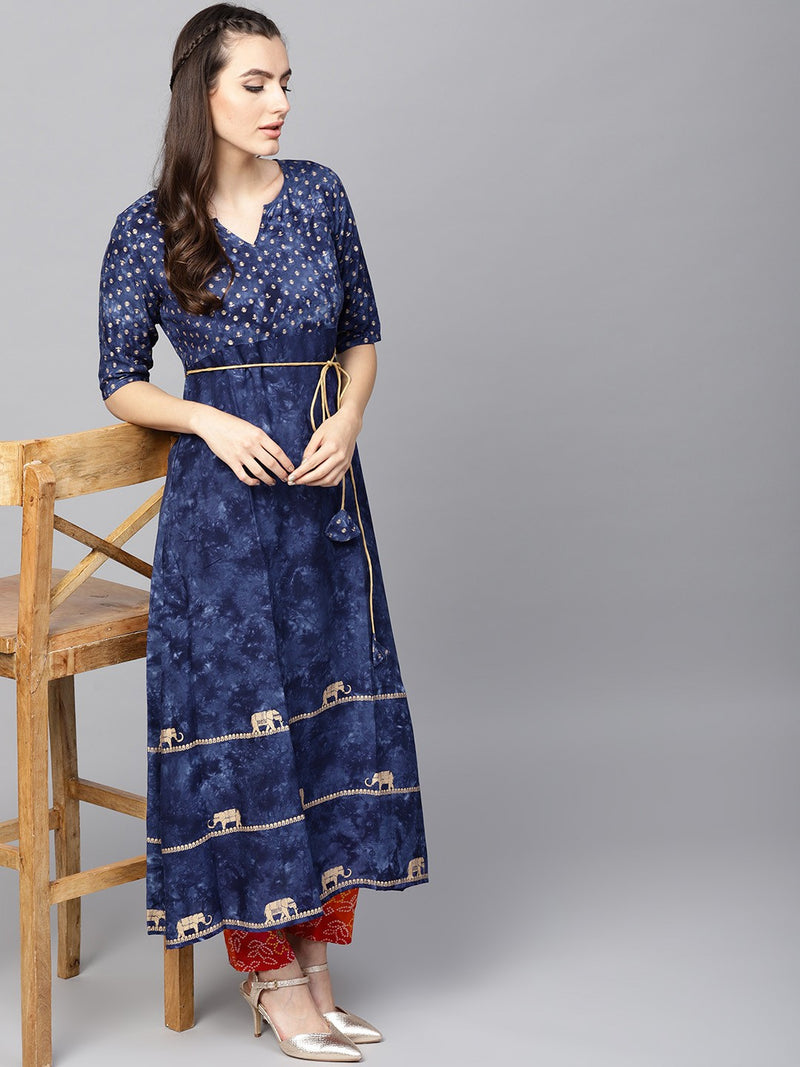 Navy Blue Gold Printed A-Line Kurta (Fully Stitched) | Znx4ever.com