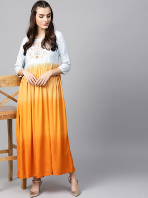 Orange & Blue Omber Print Pleated Kurta With Embroidered Yoke (Fully Stitched) | Znx4ever.com