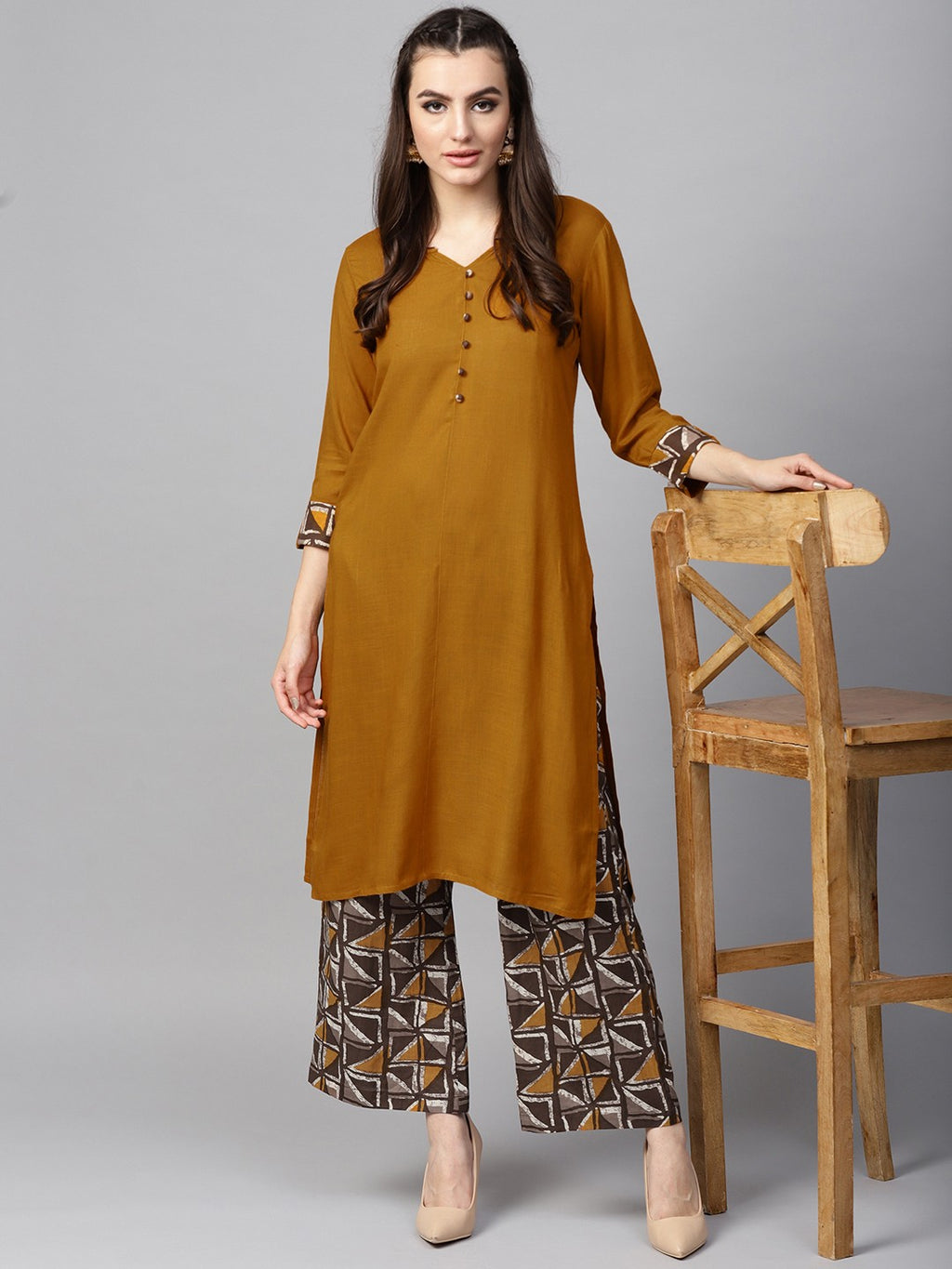 Mustard Yellow Solid Straight Kurta With Printed Palazzo (Fully Stitched) | Znx4ever.com