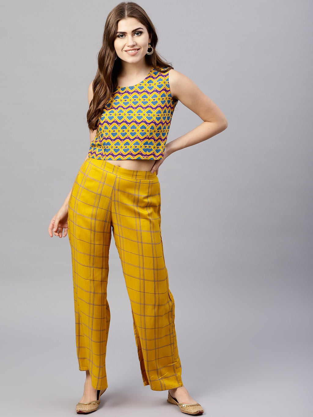 Mustard & Blue Printed Top & Palazzo Set | Znx4ever.com