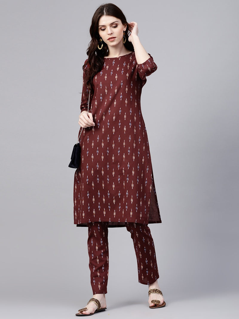Maroon Ikat Printed Straight Kurta With Pant Set (Fully Stitched) | Znx4ever.com