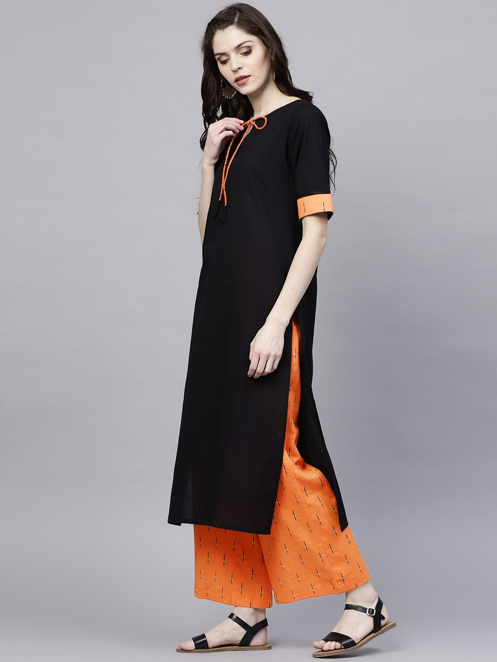 Black Solid Kurta With Printed Palazzo (Fully Stitched) | Znx4ever.com
