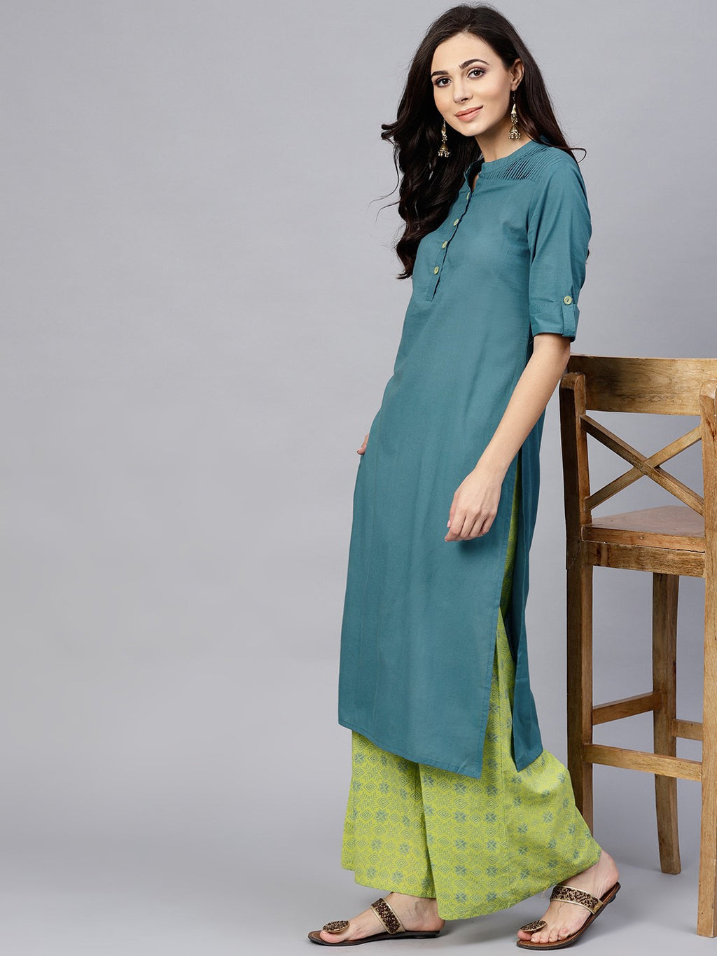 Blue Solid Kurta With Green Printed Palazzo Set (Fully Stitched) | Znx4ever.com