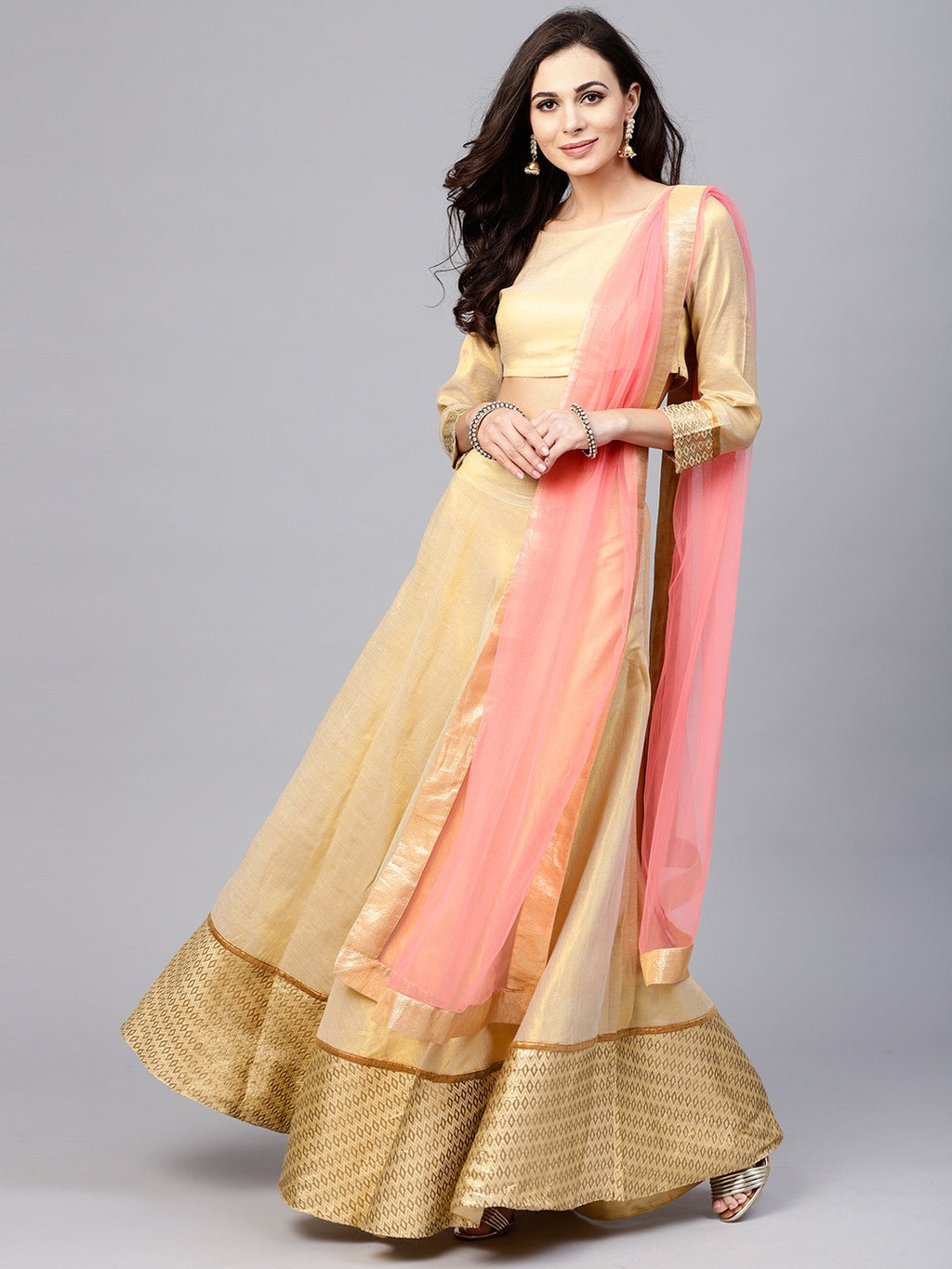 Beige Solid Lehenga With Choli & Pink Dupatta (Fully Stitched) | Znx4ever.com